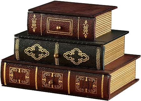 Style Ancien Livre Nostalgie de Bois Livre//bo/îte /à Bijoux