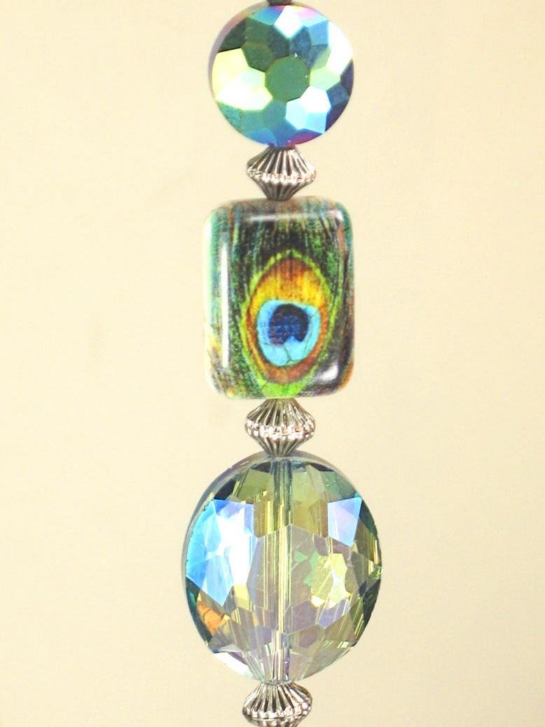 Peacock Feather & Amber Glass Ceiling Fan Pull