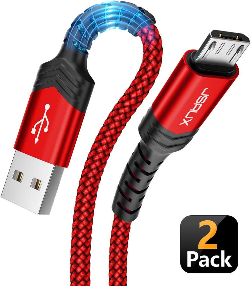 JSAUX Cable Micro USB [2PC,2M] 3A Duradero Cable USB Micro USB Nylon Trenzado Carga Rápida y Sincronizació Compatible con Android,Samsung Galaxy S7 S6 J5 J7,Xiaomi,Huawei,Sony,Nexus-Rojo