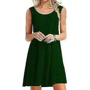 Women\'s Sleeveless Pockets Casual T-Shirt Dress Loose Tank Top ...