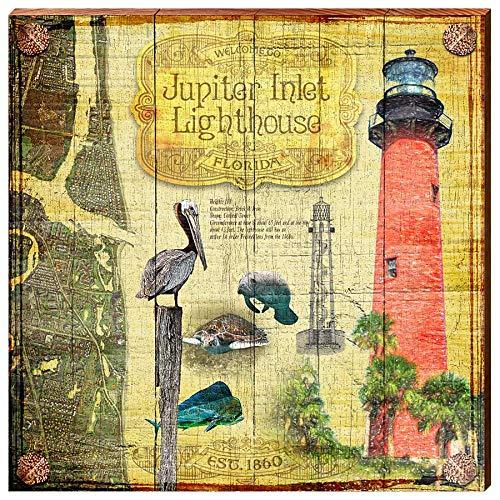 Jupiter Inlet Lighthouse - Jupiter Inlet Lighthouse Home Decor Art Print on Real Wood (18