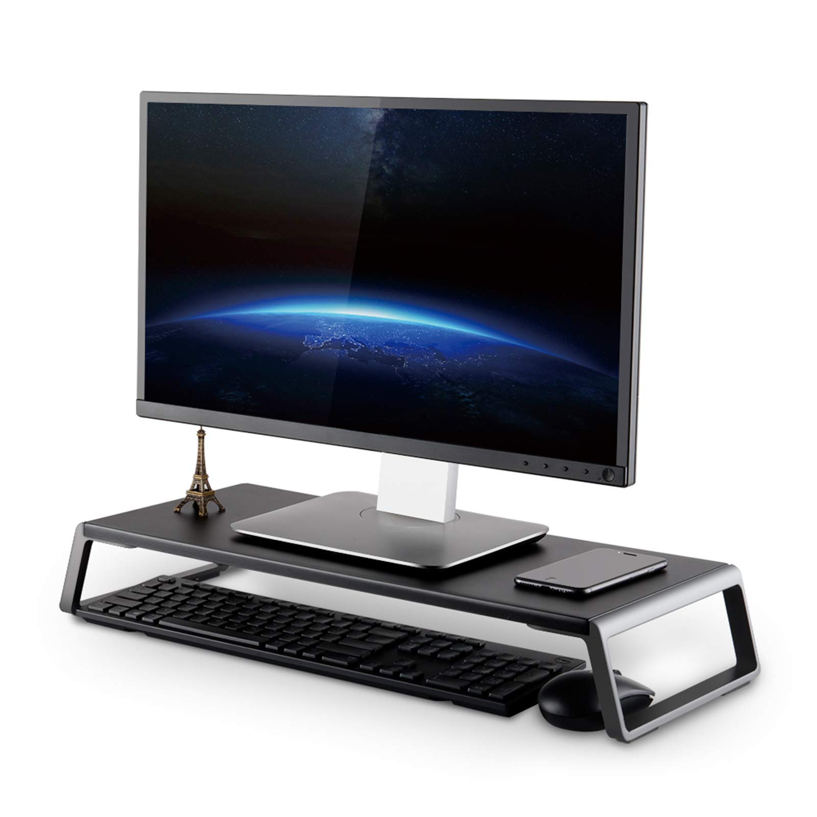 UPERGO Monitor Stand Riser with Metal Feet for Computer Laptop iMac TV LCD Display Printer, Computer Monitor Riser with Desk Tabletop Organizer 20x9.45inch Sturdy Platform Save Space,Black(ID-20B)