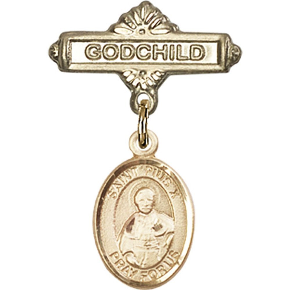 14kt Yellow Gold Baby Badge with St. Pius X Charm and Godchild Badge Pin 1 X 5/8 inches