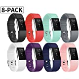 """Fitbit Charge 2 Bands, Soulen Silicone Adjustable Replacement Wristband for Fitbit Charge 2 Smart Watch Heart Rate Fitness Wristband Small Large (Small (5.7""""-7.8""""), 8-Pack)"""
