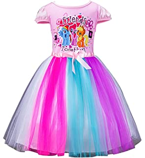 52f03a87f LEMONBABY Little Girls Unicorn Sleeveless Princess Birthday Lace Dress 2y-7y