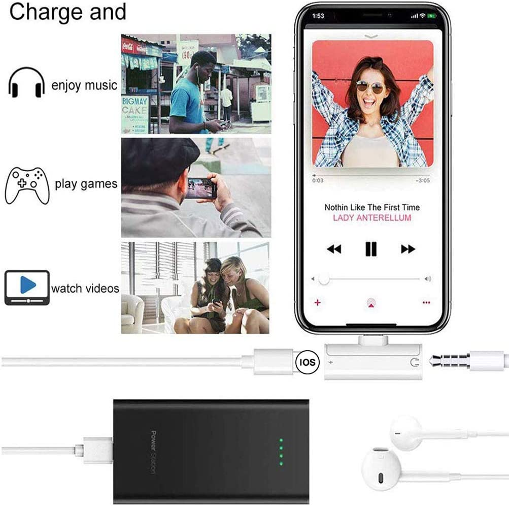 Headphone Adapter for iPhone X Jack Audio 3.5mm Dongle Earphone Car Charger Splitter Compatible for iPhone 7//7 Plus//8//8 Plus//X//XR//XS//11Pro Music Charger /& Aux Audio Extender Accessory Support All iOS