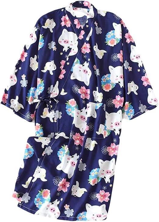 Pigeon Fleet Albornoz con Estampado de Estilo japonés, algodón, Pijama, algodón, Yukata, para Mujer, Azul: Amazon.es: Hogar