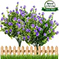 E-HAND Artificial Fake Flowers,Faux Yellow Daffodils Outdoor Greenery Shrubs Plants Plastic Bushes Window Box UV Resistant 4 Branches Fence Indoor Outside Hanging Planter Wedding Cemetery Décor