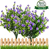 #2: E-HAND Artificial Fake Flowers,Faux Yellow Daffodils Outdoor Greenery Shrubs Plants Plastic Bushes Window Box UV Resistant 4 Branches Fence Indoor Outside Hanging Planter Wedding Cemetery Décor