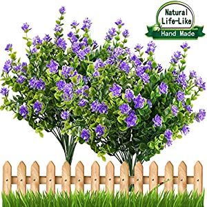 E-HAND Artificial Fake Flowers,Faux Yellow Daffodils Outdoor Greenery Shrubs Plants Plastic Bushes Window Box UV Resistant 4 Branches Fence Indoor Outside Hanging Planter Wedding Cemetery Décor 2