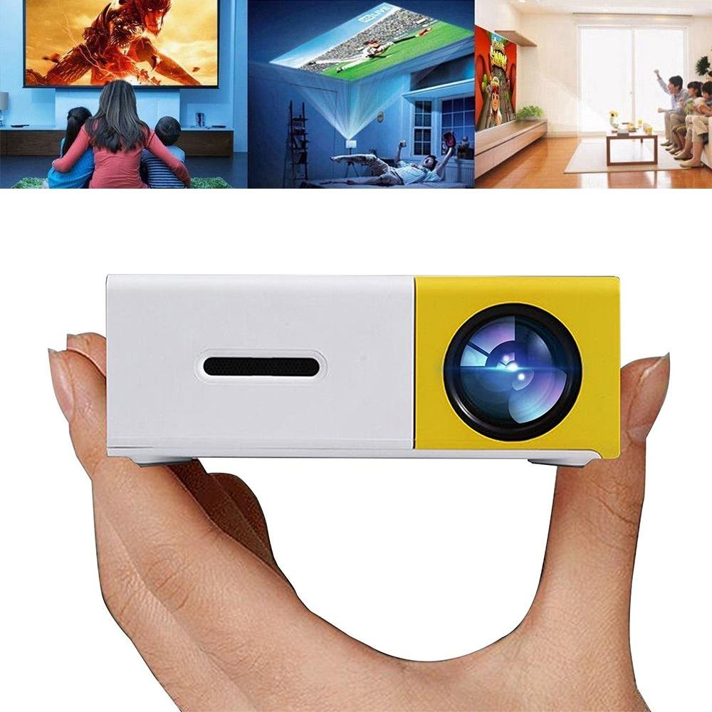 Pocket Projector, Mini Movie Projector Portable 1080P for Video/Movie/Game/Home Theater with HDMI/USB/SD/AV Input By Teepao