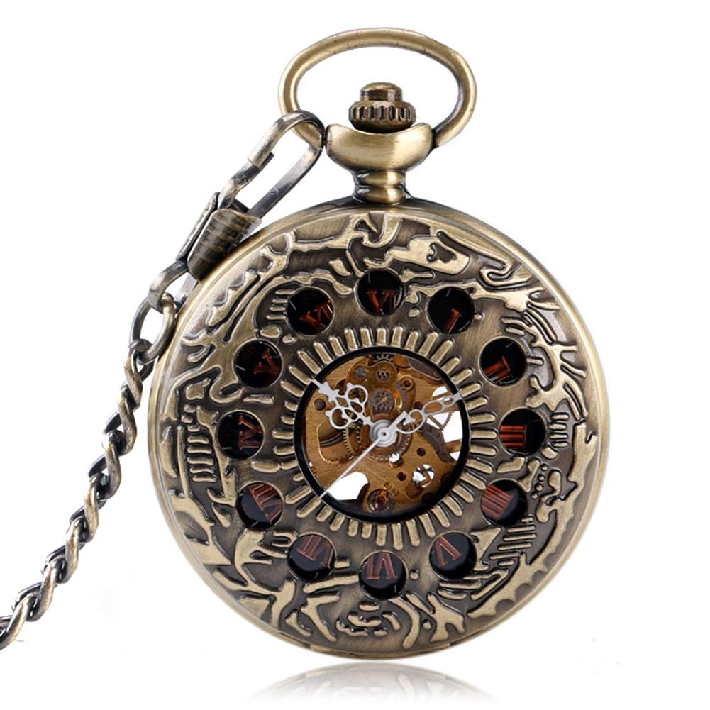 Men's Pocket Watch, Stylish Mechanical Pocket Watch for Men, Exquisite Hollow Circles Pocket Watch Gift