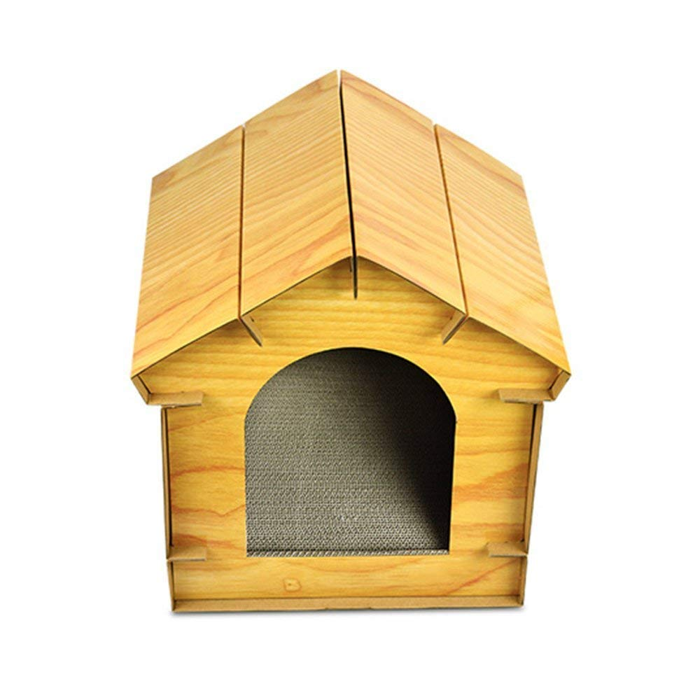 Amazon.com: B&MF DIY Simulation Wooden Cat House Corrugated ...