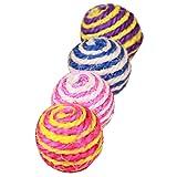 yunt Funny Cat Kitten Pet Sisal Seil Weave Ball Teaser Spielen Kauen Rassel Kratzen Catch Spielzeug zufällige Farbe