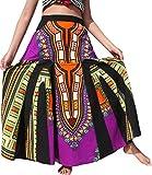 Raan Pah Muang RaanPahMuang coloured African Dashiki Elastic Waist Long Flowing Skirt, Medium, Purple Violet