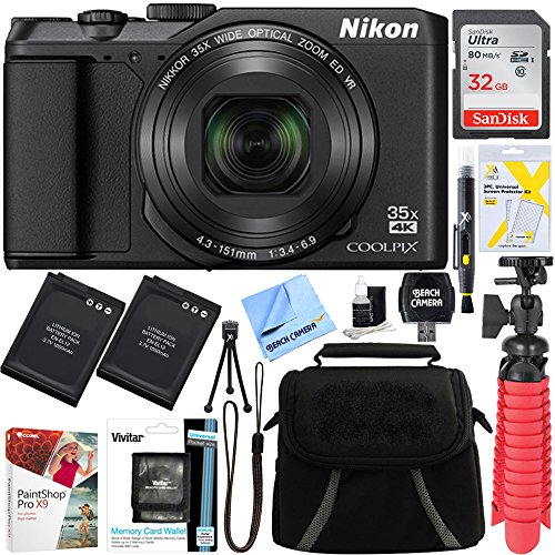 Nikon A900 20MP Longest Slim Zoom COOLPIX WiFi Digital Camera with 4K UHD Video 35x Telephoto NIKKOR Zoom Lens + 32GB Dual Battery Accessory Bundle (Black) - 20 Ultra Compact Digital Camera