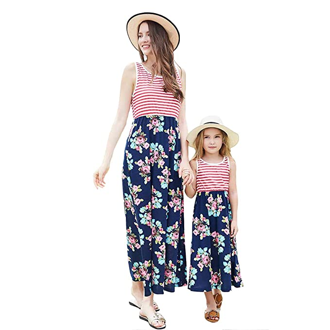 35e24eabb5 Helisopus Mommy and Me Summer Matching Maxi Dresses,Sleeveless Bohemia  Floral Printed Matching Beach Outfits
