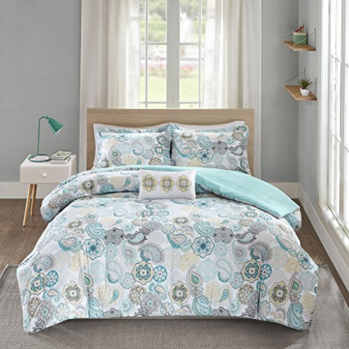 Mi Zone Tamil Comforter Set Full/Queen Size - Blue White , Floral - 4 Piece Bed Sets - Ultra Soft Microfiber Teen Bedding For Girls Bedroom
