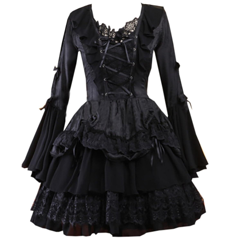 Partiss Damen Frauen Gotische Schwarz Chiffon Jacquard Nette Lolita Kleid