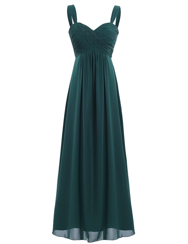 TALLA 46. Freebily Vestido Largo de Fiesta Cóctel Boda para Mujer Dama de Honor Vestido Noche Elegante de Tirantes Verde Oscuro 46