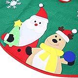 Ohuhu Santa and Reindeer Christmas Tree Skirt, 36-Inch, Green