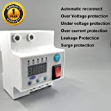 amiciSmart Over Voltage/Current Protection with Surge/Lightning and Leakage Protection Auto-Reconnect Circuit Breaker, 63A, 220V Single Phase