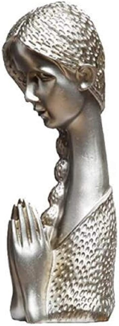 Praying Girl Statue Decor Lady Figurine Sculptur Vintage Decoration for Living Room Bedroom Home Office Gifts (Silver)