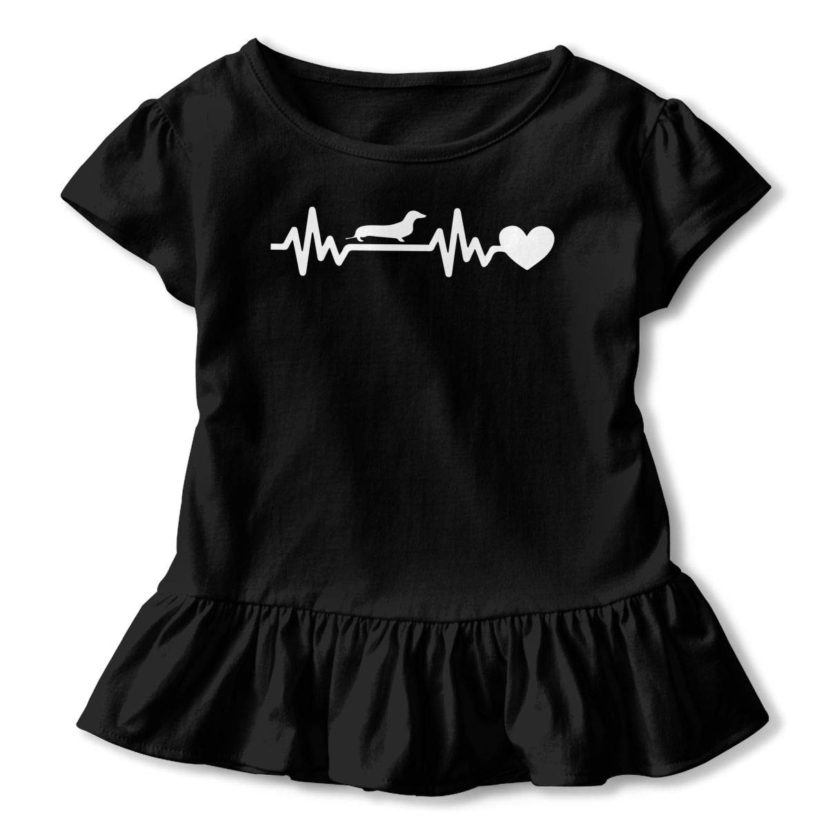 Dachshund Heartbeat Kids Girls Short Sleeve Shirts Ruffles Shirt T-Shirt for 2-6T