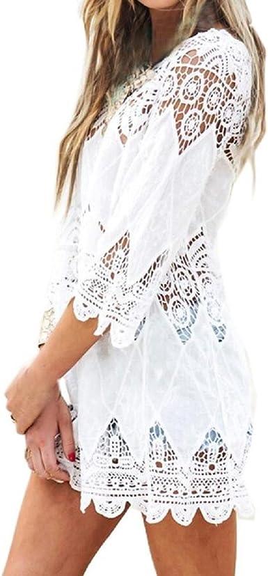 CCLLc Nuevo Verano Traje De Baño Hueco Encaje Crochet Bikini Beach Encubrir La Camisa Mujer Tops Trajes De Baño Vestidos De Playa Playa Blanca Túnica Camiseta-XL: Amazon.es: Ropa y accesorios