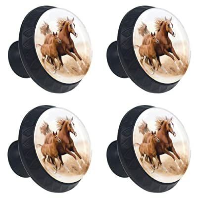4 Pcs Horses and Kids Run in Fields Farm Cabinet Knobs Round Glass Drawer Handles Pulls for Kitchen Furniture Hardware Cupboard Dresser Bookcase with Screws-1-3/8 Inch(35mm) Diameter: Home & Kitchen