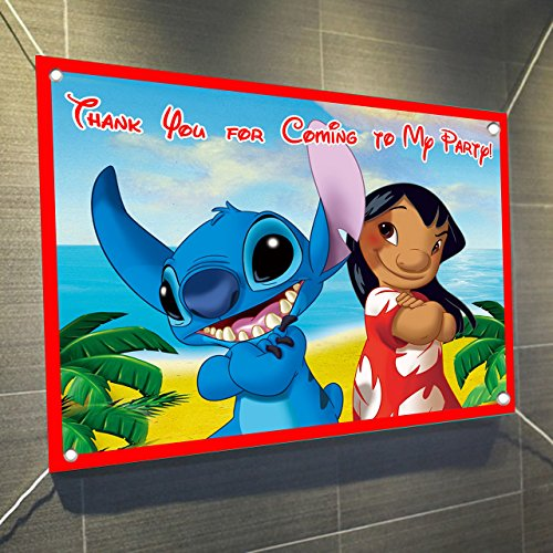 Lilo and Stitch Banner Large Vinyl Indoor or Outdoor Banner Sign Poster Backdrop, party favor decoration, 30