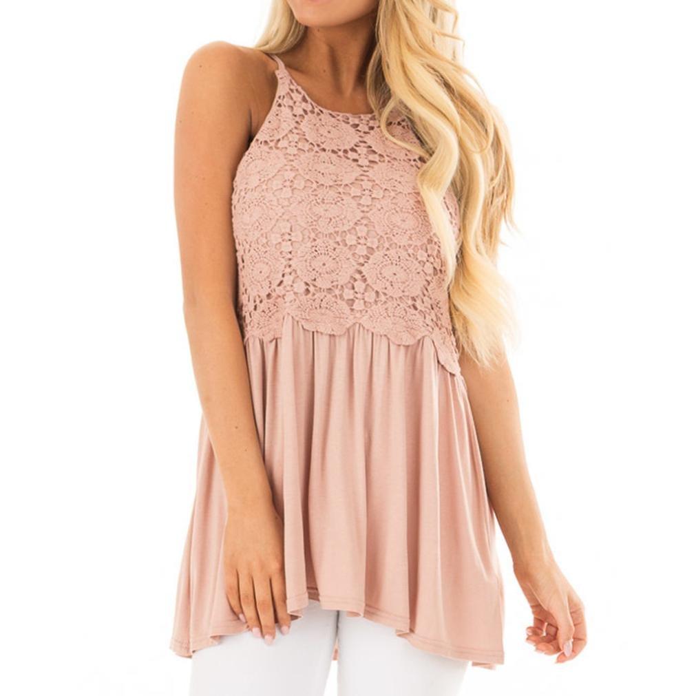 Kimodo T Shirt Damen Sommer Bluse Damen Ärmellose Tank Top Spitze Freizeithemd Blusen Rosa Mode 2019