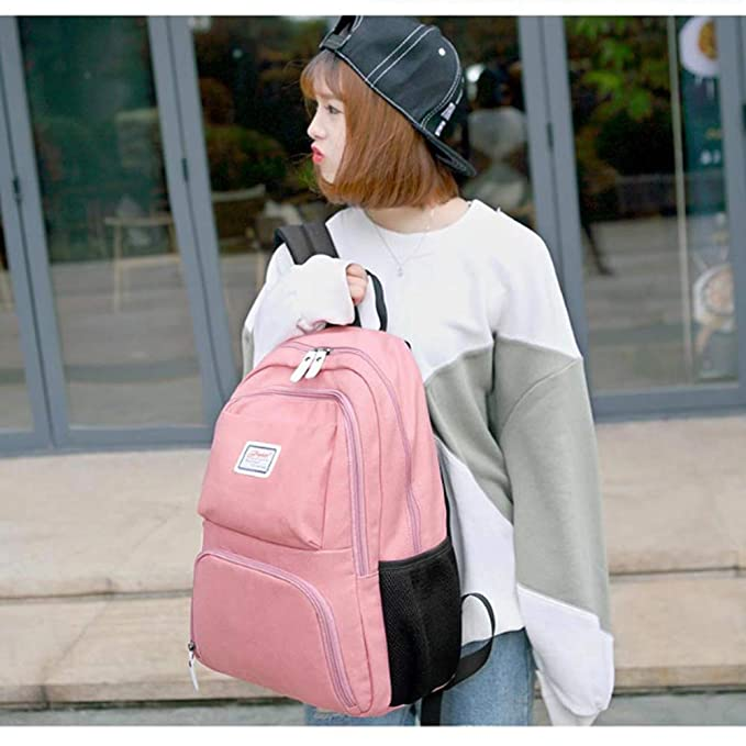 Color : Pink RABILTY Women Backpack Purse Rucksack Lightweight Lady School Shoulder PU Leather Tote Bag