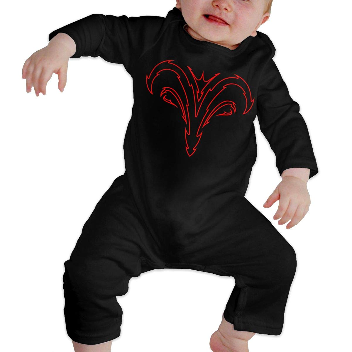 Fasenix Red and Black Tribal Aries Newborn Baby Boy Girl Romper Jumpsuit Long Sleeve Bodysuit Overalls Outfits Clothes