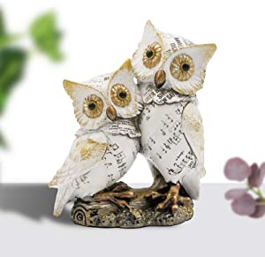 Resin Owl Couple Statue- Be Together Forever- Valentine's Day Gift, Gift for Girl Firend, Decor Accents for Shelf and Desktop, Wedding Gift, White.
