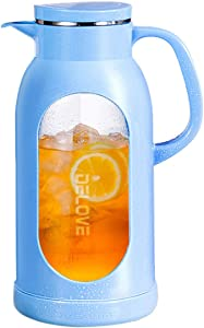 Delove 68 Ounces Glass Pitcher with Shatterproof Shell - Heat Resistant All-glass Liner -18/8 Stainless Steel Filter Lid - Great for Ice Tea,Hot/Cold Water and Juice Beverage (Blue)