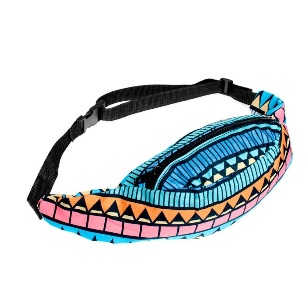 Bolayu Fashion Sports Hiking Running Belt Waist Bag Pouch Zipper Fanny Pack Printed Bag (D)