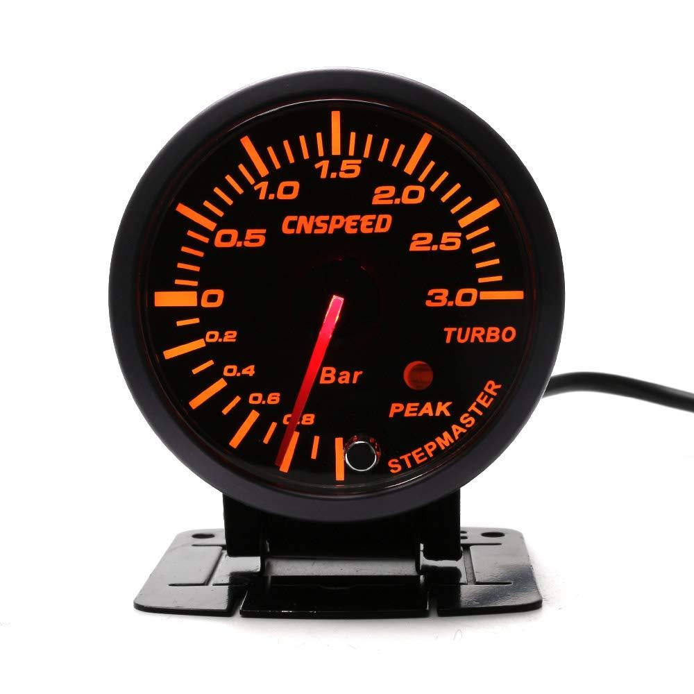CNSPEED - Medidor de presió n de 3 bares, color negro, 60 mm, con medidor de boost turbo alumbrado blanco y á mbar