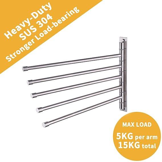Amazon.com: Toallero KES A2102C con 4 barras y soporte de ...