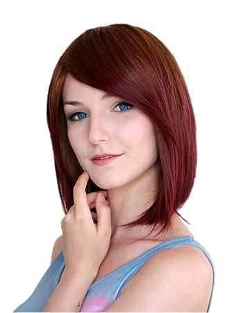 Prettyland Tie Dye Glatt Mittellang Perucke Gefarbt Farbverlauf Bunt Ombre Braun Rot C816
