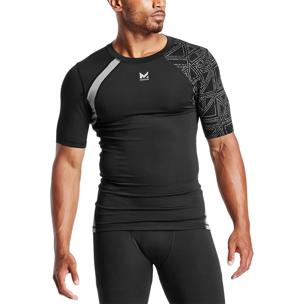 Mission X Wade Collection Men's Flash Short Sleeve Compression Shirt, Flash Black, Small