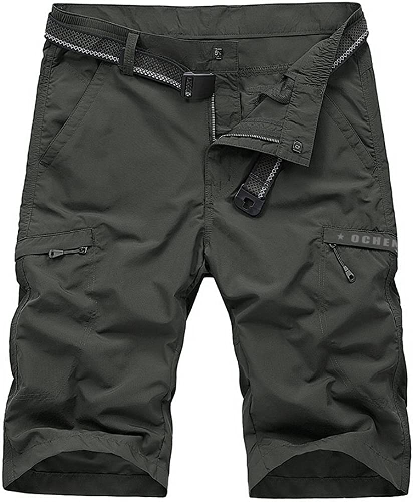Men's Cargo Shorts,Outdoor Lightweight Quick Dry Belted Hiking with Multi Pockets Pants