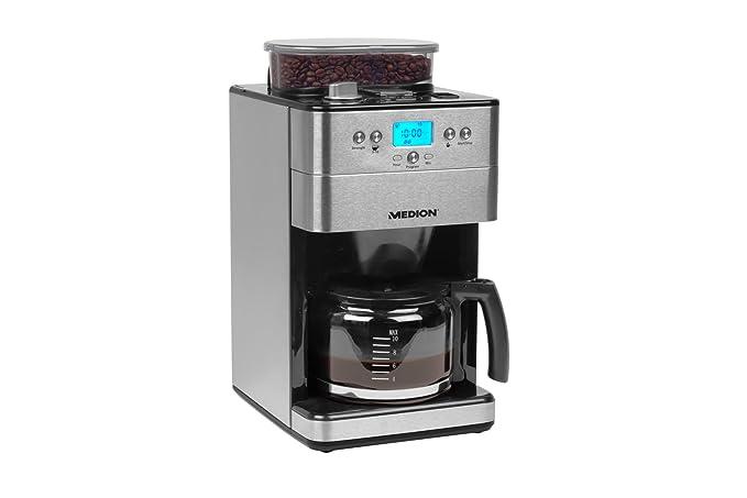 MEDION MD 16893 Cafetera con Molinillo, 1000 W, 1.25 litros, Acero ...