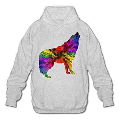 2dbf1c716 Hooded Pullover Sweaters for Men Cool Howling Wolf Colorful at ...