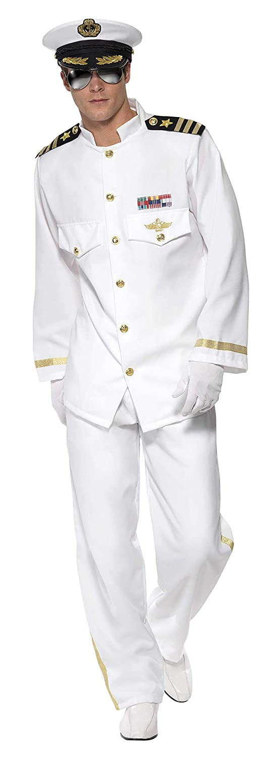 Smiffys Men's Captain Deluxe Costume, White