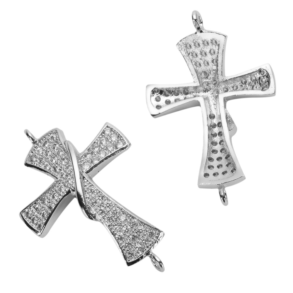 Creative Club 18 inch Sterling Silver Necklace Cross Charm Faith Pendant Adorned with Diamond Simulants Necklace #NL-MCAC44