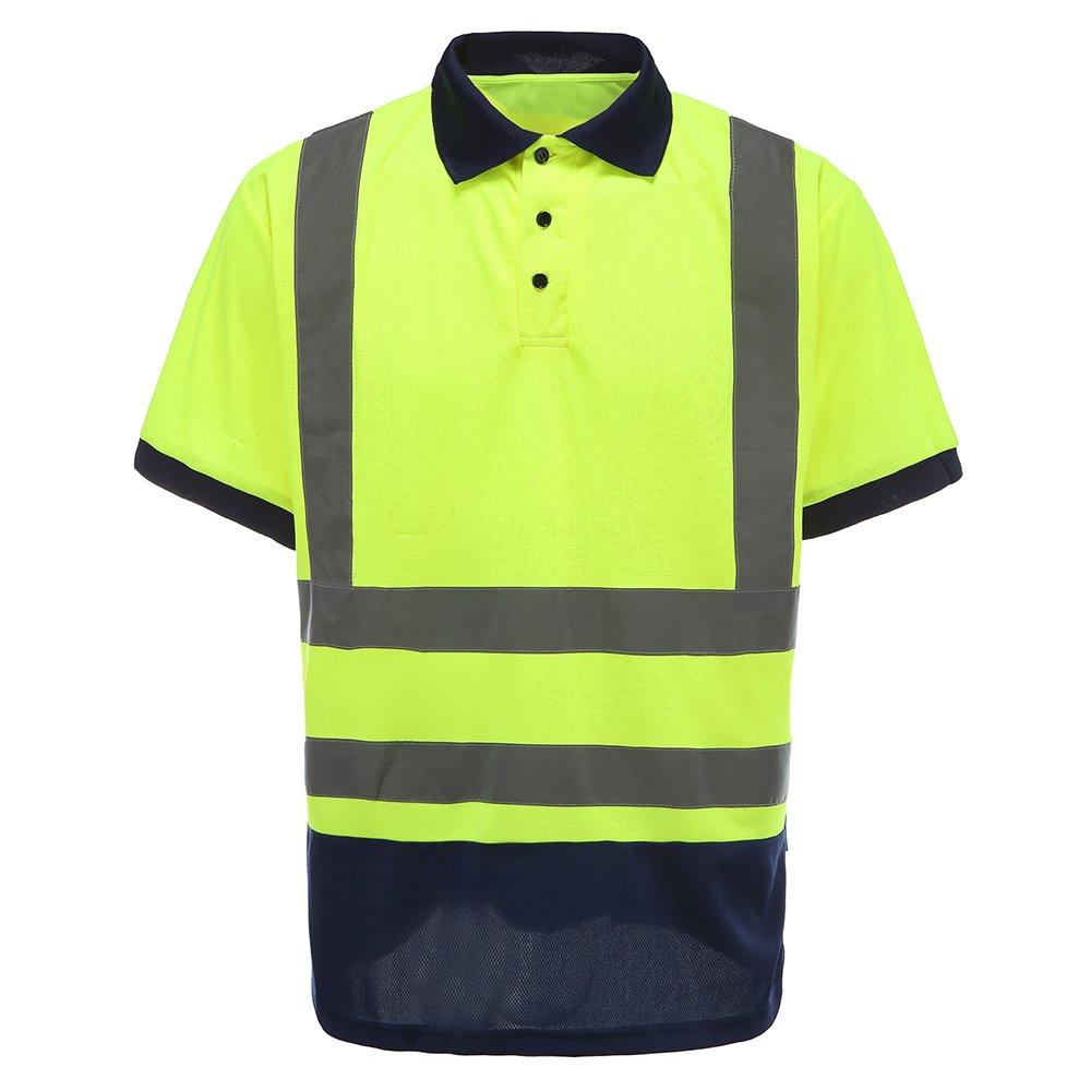 Mens Polo Shirts Hi Vis High Viz Visibility Short Sleeve Safety Work-wear Shirt L, Orange