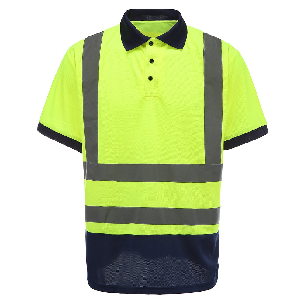 A-safty high Visibility Shirts Hi Viz Vis Polo T-Shirt High Visibility Reflective Tape Safety Security Work Top Class 3 Polo Shirt XL