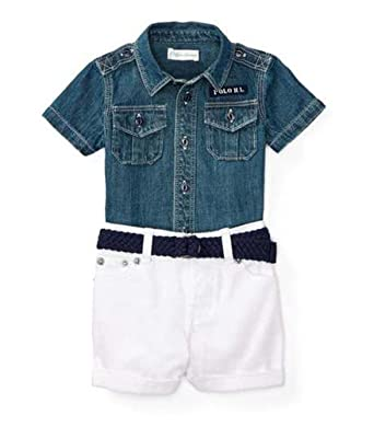 e5aa91db2b6 Amazon.com  RALPH LAUREN Baby Boys Denim Shirt   Shorts Belt Set (3 ...