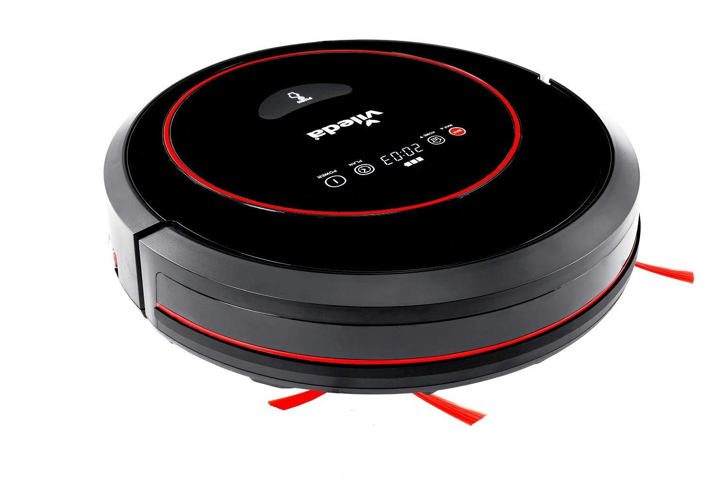 Vileda VR 302 - Robot aspirador autónomo para la limpieza eficaz de suelos y alfombras, aspiradora robótica con función programable y de autocarga, oble filtro y elevada potencia de succión, negro